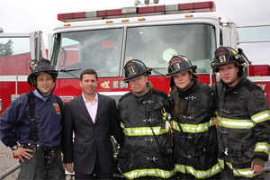 Kevin Goldberg With Firefighters