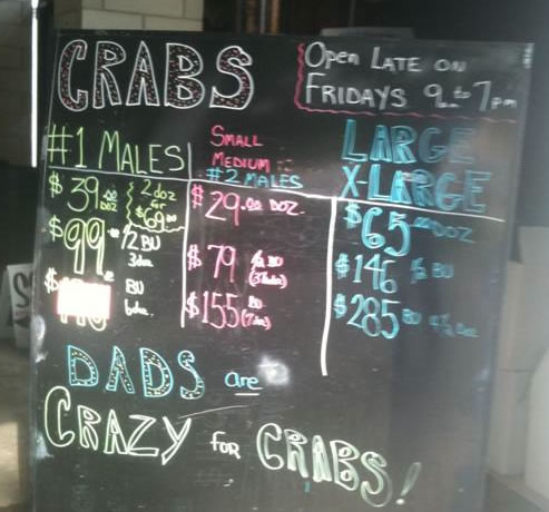 Menu Chalkboard From Louisiana Seafood Restaurant
