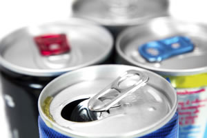 tops of energy drink cans