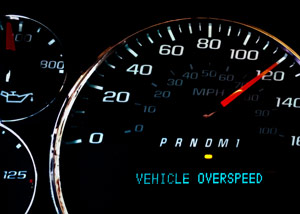 close up of a vehicle speedometer