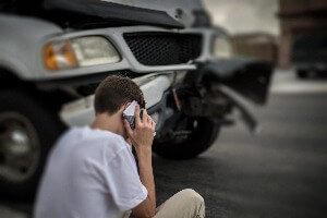 making a phone call after a car crash