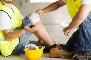worker with injured knee