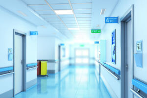 bluish hallway in hospital